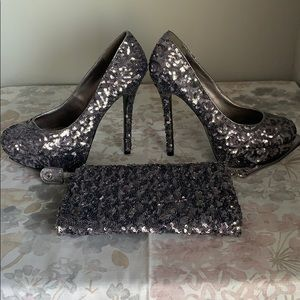 Sequin Pewter heels with matching Clutch